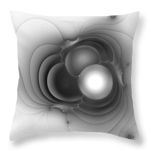 Grey Gray Black White Fractal Digital Art Abstract Expressionism Impressionism Sphere 8 Throw Pillow featuring the painting Sphere 8 by Steve K