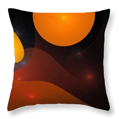 Digital Art Space Universe Sun Stars Sphere Color Colorful Expressionism Impresionism Abstract Fantasy Throw Pillow featuring the painting Sphere by Steve K