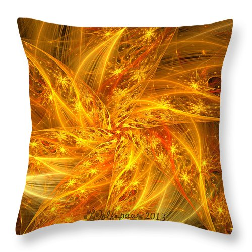 Abstract. Digital Throw Pillow featuring the digital art Spherical Golden Stars by Peggi Wolfe