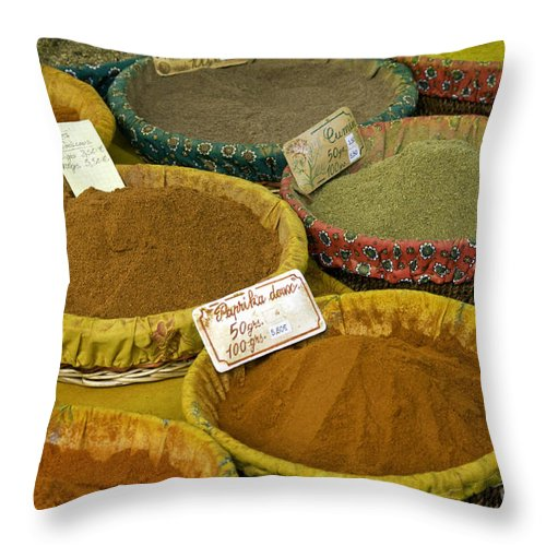 Market Day Lourmarin France Spice Spices Basket Baskets Markets Still Life Provence Throw Pillow featuring the photograph Spices by Bob Phillips
