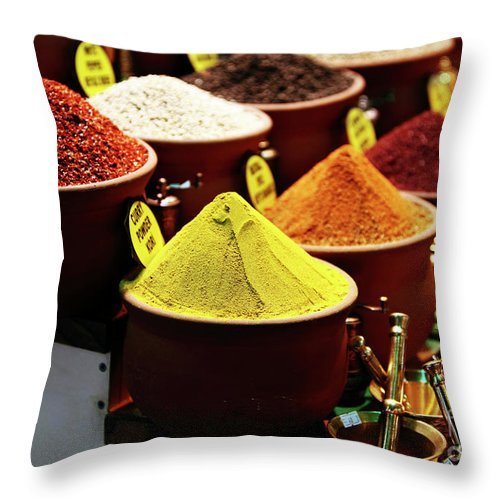 Spices Throw Pillow featuring the photograph Spices by John Rizzuto