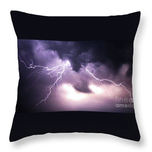 Lightening Throw Pillow featuring the photograph Spider Lightening by Angela Wright
