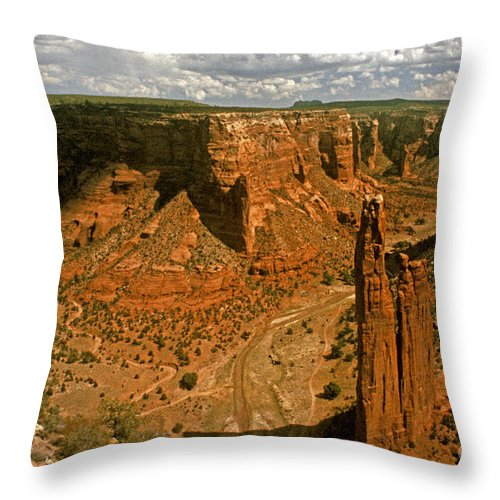 Spider Rock Throw Pillow featuring the photograph Spider Rock - Canyon De Chelly by Paul W Faust - Impressions of Light