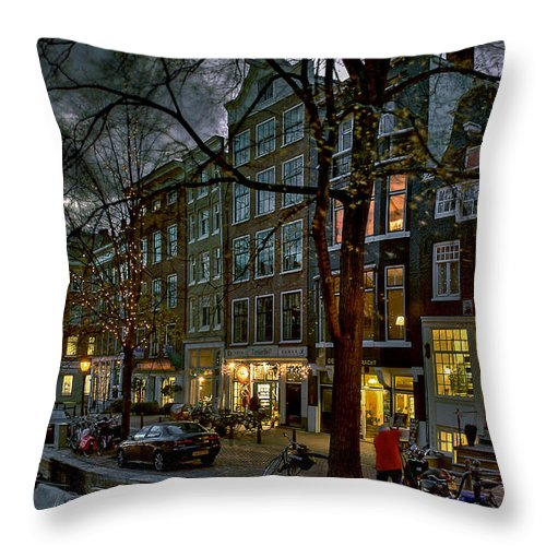 Holland Amsterdam Throw Pillow featuring the photograph Spiegelgracht 8. Amsterdam by Juan Carlos Ferro Duque
