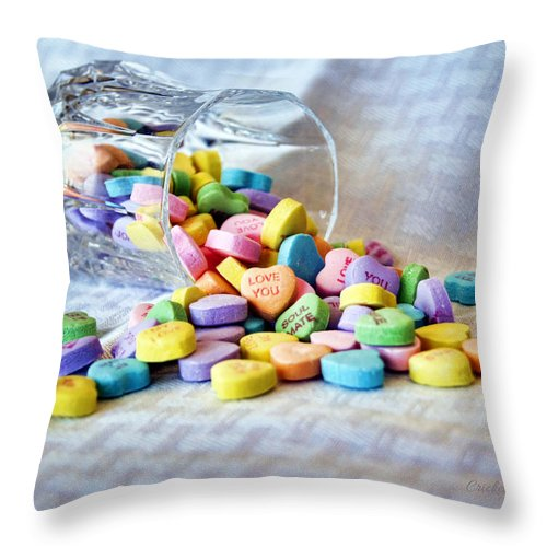 conversation Hearts Throw Pillow featuring the photograph Spilled My Heart Out by Cricket Hackmann