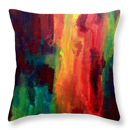 Spilling Throw Pillow featuring the painting Spilling Rainbows by Elizabeth Sullivan