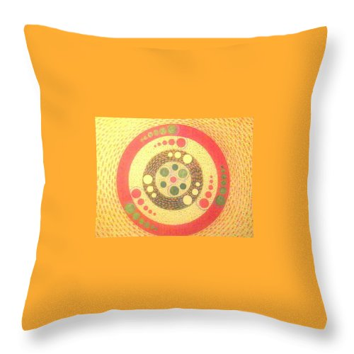 Orbatrons Crop Circles Throw Pillow featuring the painting Spinning Orbatrons In Wheat-shire by MERLIN Vernon