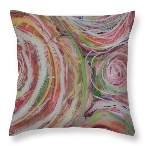Abstract Throw Pillow featuring the painting Spiral Bouquet by Anna Skaradzinska