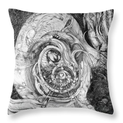 Spiral Rapture Throw Pillow featuring the drawing Spiral Rapture 2 by Otto Rapp