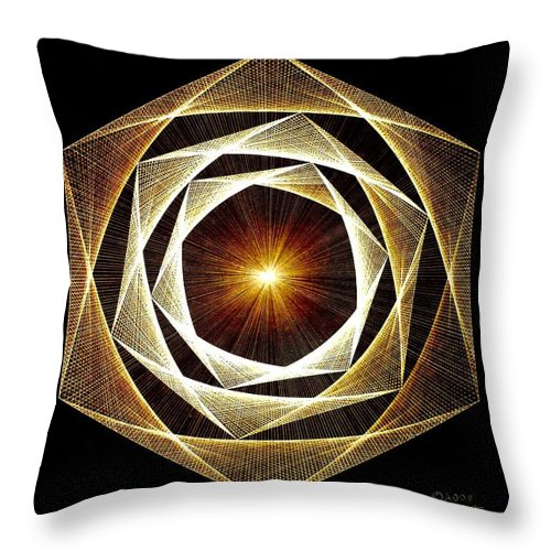 Fractal Throw Pillow featuring the drawing Spiral Scalar by Jason Padgett