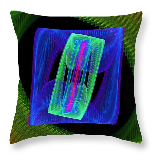 Round Throw Pillow featuring the photograph Spiral Vortex Green And Blue Fractal Flame by Keith Webber Jr