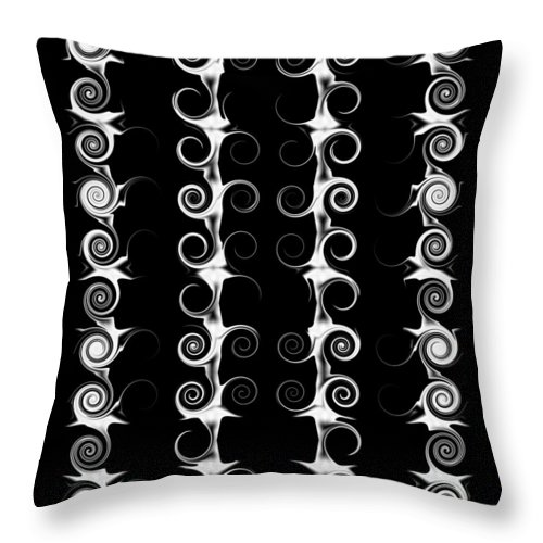 Black Throw Pillow featuring the digital art Spirals And Swirls Black And White Pattern by Taiche Acrylic Art