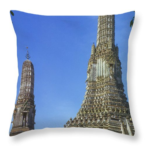 Temple Of Dawn Wat Arun Temple Of The Rising Sun Temples Prang Spire Horse Guardian Spires Tower Towers Landmark Landmarks Place Places Of Worship Structure Structures Building Buildings Architecture Bangkok Thailand Throw Pillow featuring the photograph Spires Of The Temple Of Dawn by Bob Phillips
