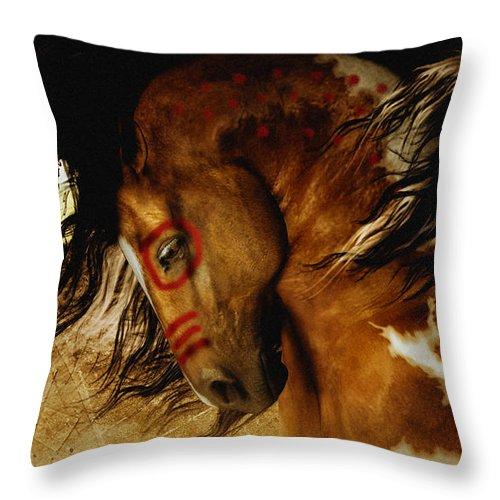 Spirit Horse Throw Pillow featuring the digital art Spirit Horse by Shanina Conway