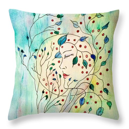 Watercolor Painting Throw Pillow featuring the painting Spirit Of The Forest by Robin Monroe