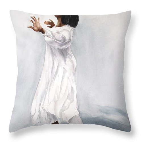 Woman Throw Pillow featuring the painting Spiritual Dance by Kyong Burke