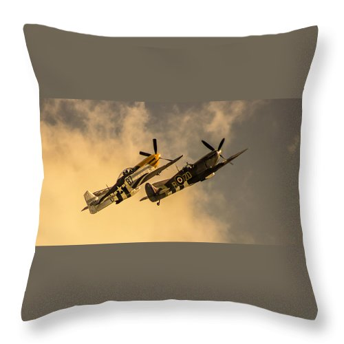 Duxford Throw Pillow featuring the photograph Spitfire by Martin Newman