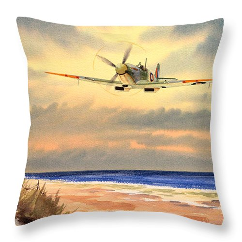 Aircraft Throw Pillow featuring the painting Spitfire Mk9 - Over South Coast England by Bill Holkham