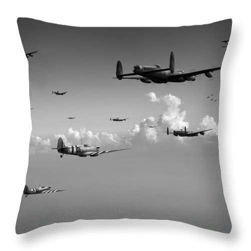 Avro 638 Lancaster Throw Pillow featuring the photograph Spitfires Escorting Lancasters Black And White Version by Gary Eason
