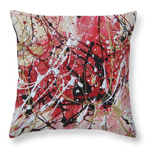 Abstract Throw Pillow featuring the painting Splatter by Laura Lane