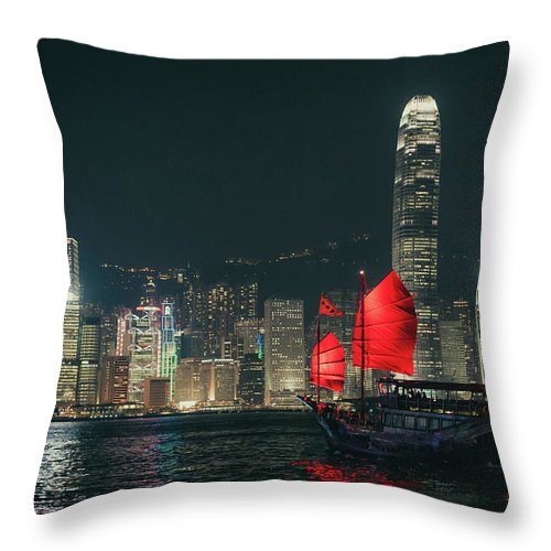 Outdoors Throw Pillow featuring the photograph Splendid Asian City, Hong Kong by D3sign