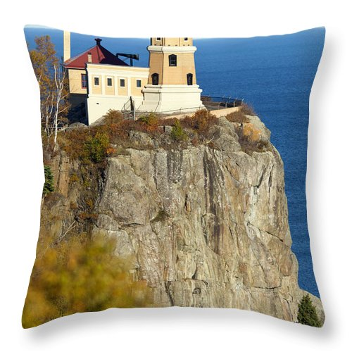 Split Rock Lighthouse Throw Pillow featuring the photograph Split Rock Lighthouse by Anthony Totah