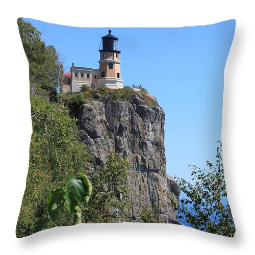 Lake Throw Pillow featuring the photograph Split Rock Lighthouse by Lori Tordsen