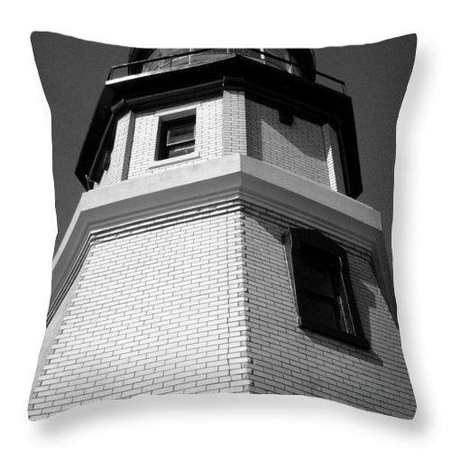 Split Throw Pillow featuring the photograph Splitrock Lighthouse 3 Bw by Joshua Thompson