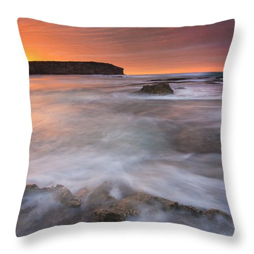 Sunrise Throw Pillow featuring the photograph Splitting The Tides by Mike Dawson