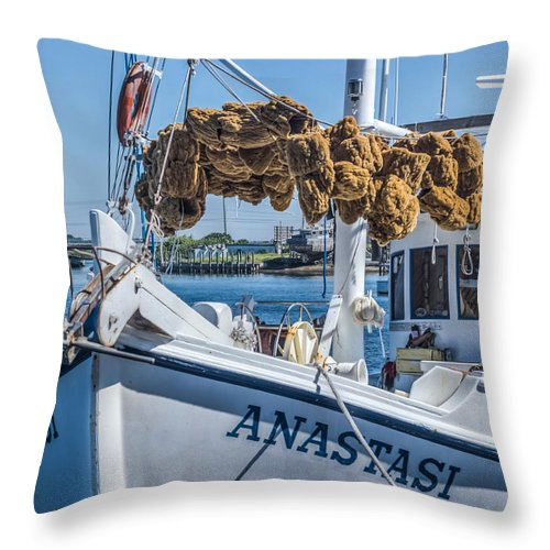 Florida Throw Pillow featuring the photograph Sponges Drying by Jane Luxton