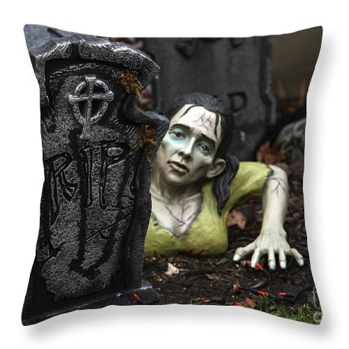 Zombie Throw Pillow featuring the photograph Spookie Lady by Iris Richardson