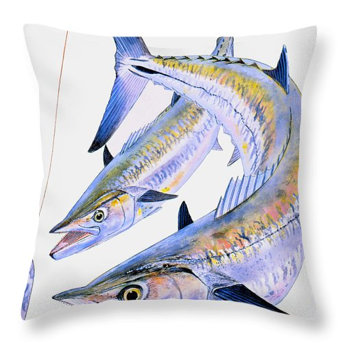 Kingfish Throw Pillow featuring the painting Spoon King by Carey Chen