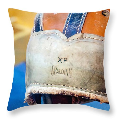 Helmet Throw Pillow featuring the photograph Sports - Vintage Football Helmet by Art Block Collections