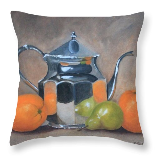 Teapot Throw Pillow featuring the painting Spot Of Tea by Estelle Stepherson