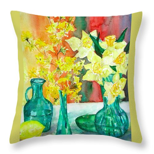 Spring Throw Pillow featuring the painting Spring by Anna Ruzsan