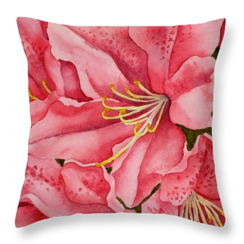 Watercolor Throw Pillow featuring the painting Spring Azalea by Darla Brock