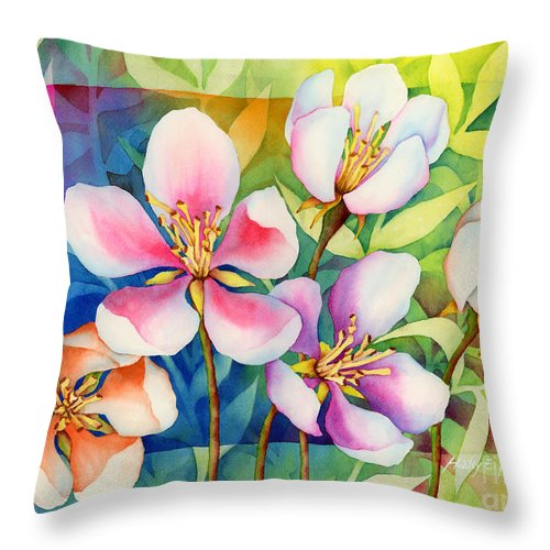 Flowers Throw Pillow featuring the painting Spring Ballerinas by Hailey E Herrera
