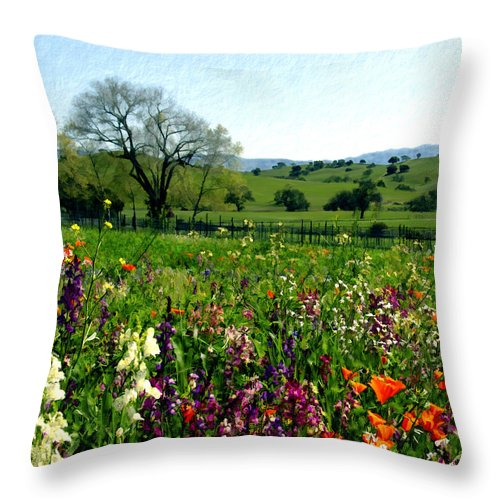 Flowers Throw Pillow featuring the photograph Spring Bouquet At Rusack Vineyards by Kurt Van Wagner