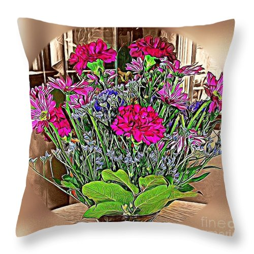 Spring Bouquet Throw Pillow featuring the photograph Spring Bouquet by Judy Palkimas