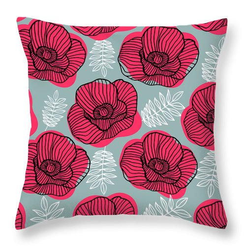 Flowerbed Throw Pillow featuring the digital art Spring Bright Seamless Floral Pattern by Ekaterina Bedoeva
