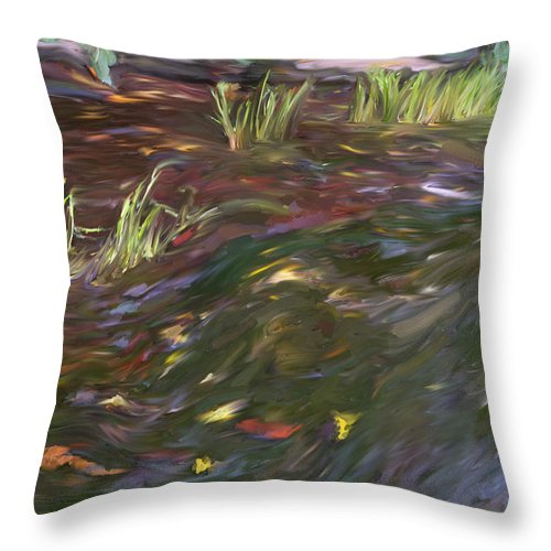 Spring Throw Pillow featuring the painting Spring Creek In Oak Canyon Park by Angela Stanton