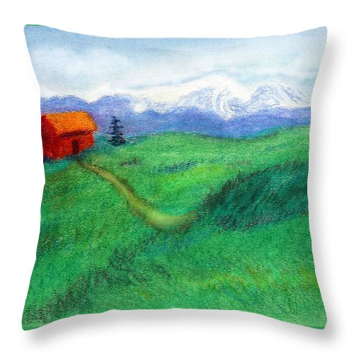 C Sitton Painting Paintings Throw Pillow featuring the pastel Spring Day by C Sitton