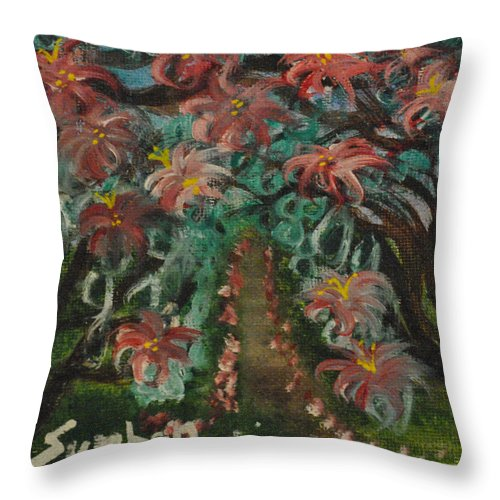 Flowers Throw Pillow featuring the painting Spring Dogwoods by Suzanne Surber