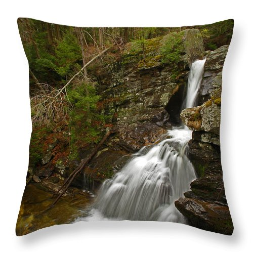Waterfalls Throw Pillow featuring the photograph Spring Falls by Karol Livote