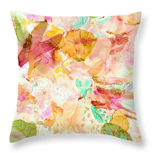 Garden Throw Pillow featuring the painting Spring Garden by Susan Kubes
