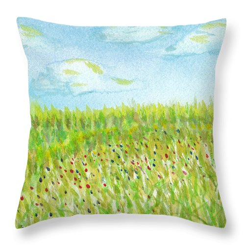 Grass Throw Pillow featuring the painting Spring Hill by Andrew Worley