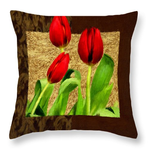Red Tulips Throw Pillow featuring the photograph Spring Hues by Lourry Legarde