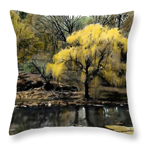 Abstract Throw Pillow featuring the photograph Spring In Central Park Nyc by Linda Parker