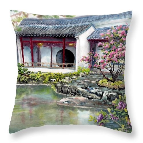 Chinese Classical Garden Throw Pillow featuring the painting Spring In Dr. Sun Yat-sen Gardens by Eileen Fong