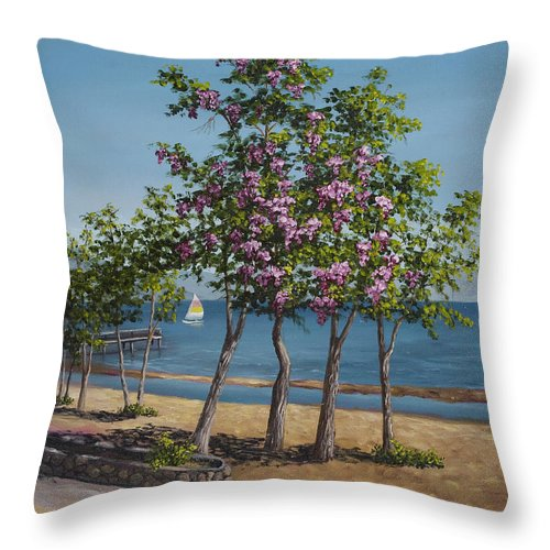 Landscape Throw Pillow featuring the painting Spring In Kings Beach Lake Tahoe by Darice Machel McGuire